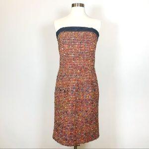 Trina Turk Size 4 Tweed Denim Trim Strapless Dress